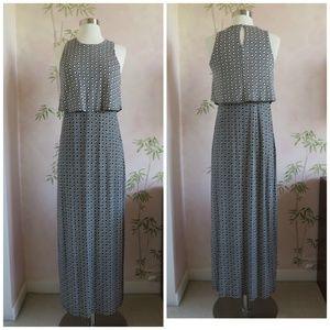 LOFT Black and White Pattern Knit Maxi